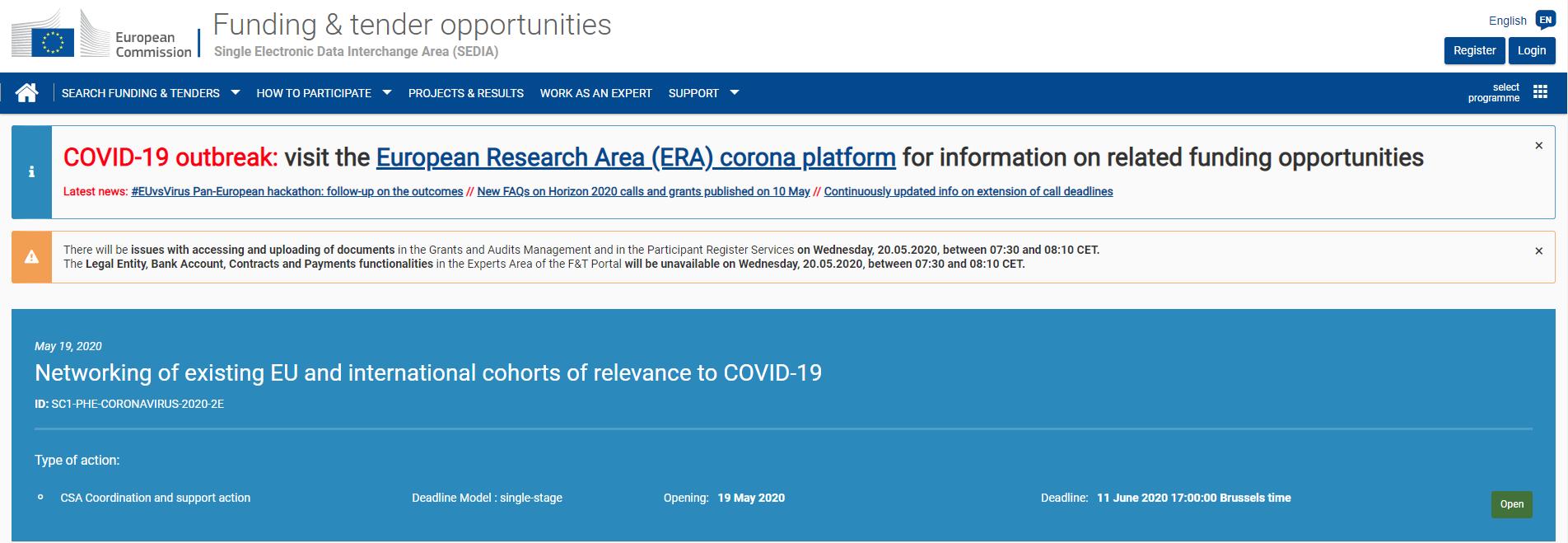 Apelul al doilea, dedicat noului coronavirus H2020-SC1-PHE-CORONAVIRUS-2020-2 este acum disponibil pe platforma Funding&Tenders.