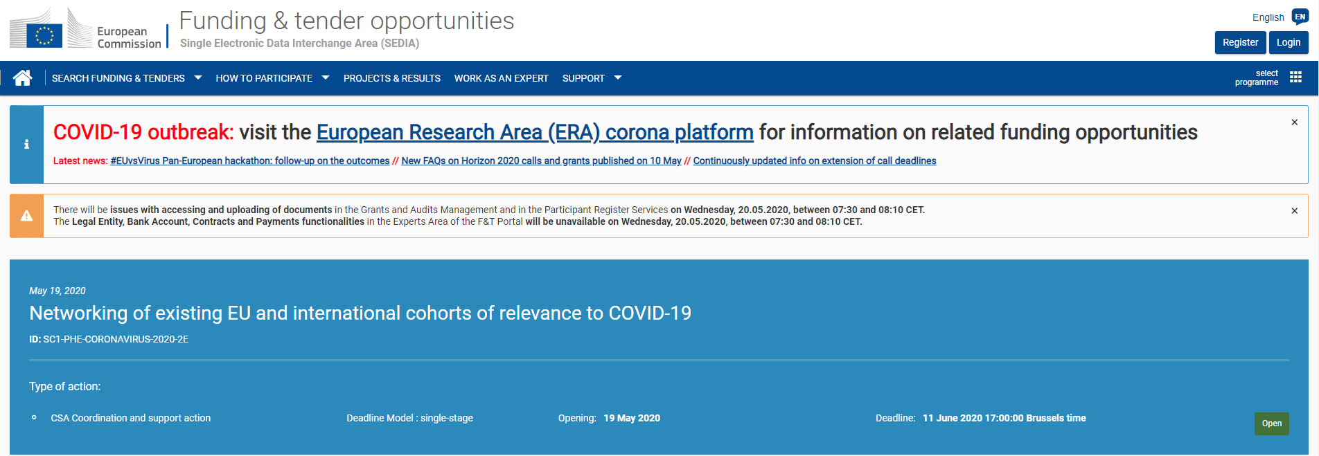 The second call, dedicated to the new coronavirus H2020-SC1-PHE-CORONAVIRUS-2020-2 is now available on the Funding & Tenders platform.
