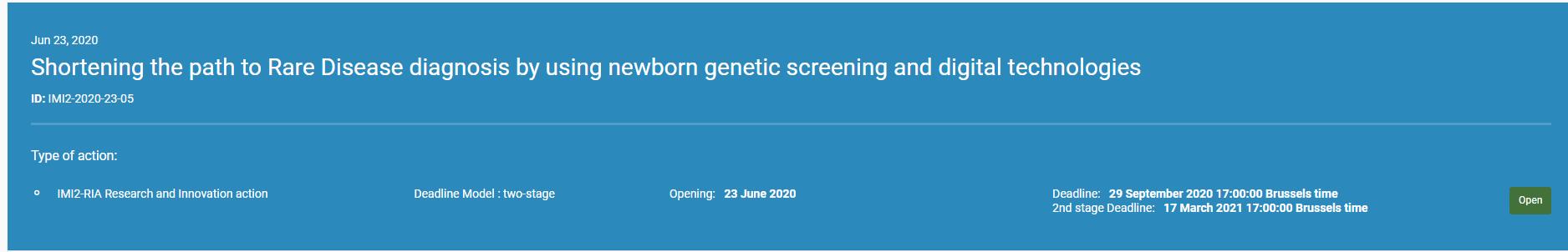 """Comisia Europeana a lansat prin intermediul website-ului Funding & Tenders apelul """"Facilitarea diagnosticul bolii rare prin utilizarea screeningului genetic al nou-născutului și a tehnologiilor digitale"""""""