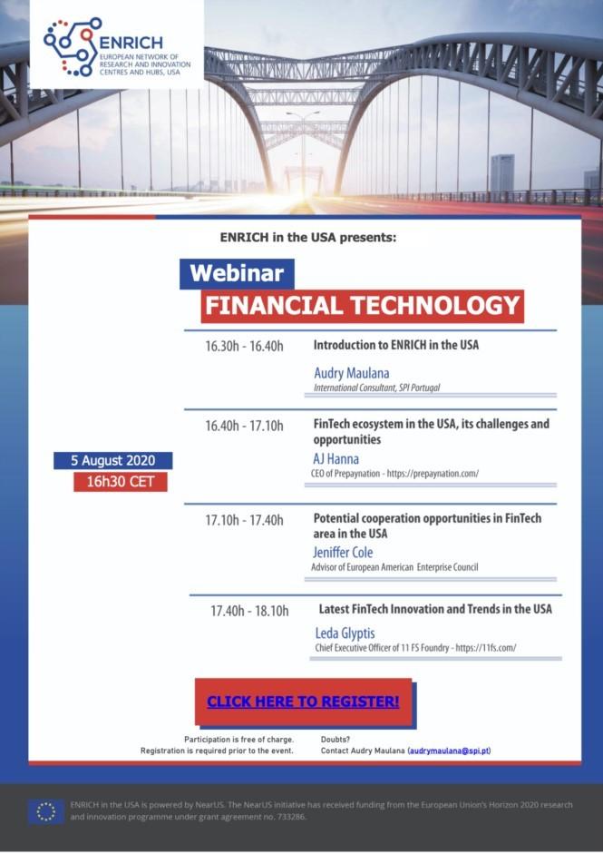 "ENRICH SUA  Webinar ""Tehnologie financiară"""
