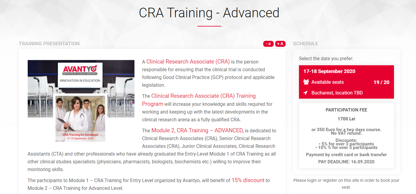 CRA Training - Advanced Training Course for Clinical Research Associate (CRA) - 17-18 September 2020